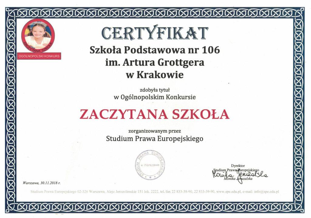 """Ogólnopolski projekt """"ZACZYTANA SZKOŁA"""""""